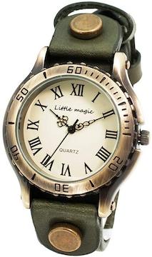 アンティーク 風 腕時計 ダークブラウンL