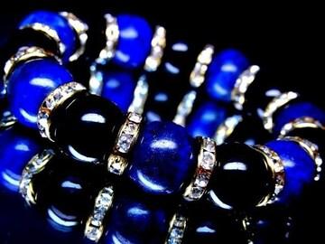 魔除けと能力開発に◆ラピスラズリ§オニキス14ミリ金ロンデル数珠