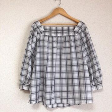 ジーユー大きいサイズ 袖ゆったりチェック柄カットソー XLサイズ★