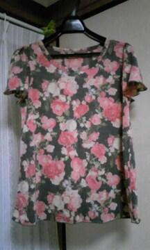 レトロ花柄●フリル袖AラインTシャツ●新品