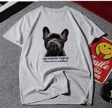新品【7565】10XL(大きいサイズ)フレンチブルドッグ☆グレー半袖Tシャツ