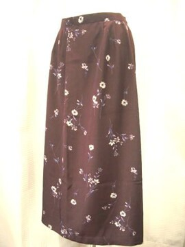 【esperance】エンジ/花柄プリントロングスカート