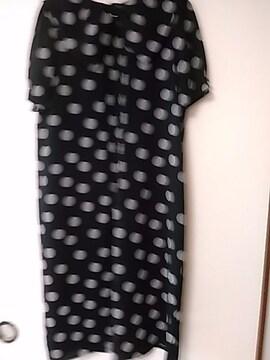 黒水玉 ゆったり半袖ワンピース らくらく便180円