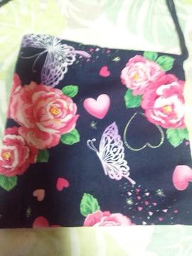 ☆新品紺×バラ蝶ハートラメ入柄ナナメ掛巾着袋