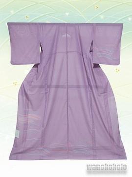 【和の志】夏の洗える着物◇絽付下◇藤紫系・幾何学柄◇103