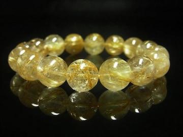 タイチンルチルブレスレット 金針水晶パワーストーン数珠 12ミリ 金運上昇