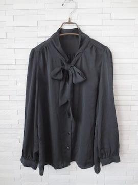 美品 Vis 光沢素材 ボウタイリボン 長袖ブラウス 黒 M