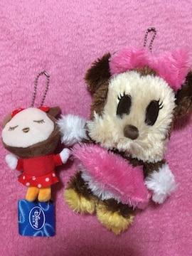 ミニーちゃん ミニーマウス ぬいぐるみ キーホルダー 2点set