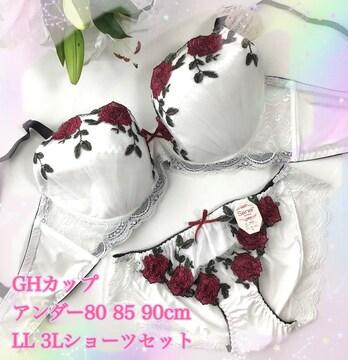 H80LL☆レース薔薇 ホワイト ブラ&ショーツ