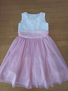 結婚式や発表会に☆激可愛ドレス♪150 ホワイト×ピンク 美品