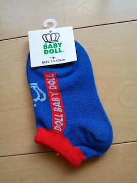 新品スニーカーソックス 靴下/青×赤13〜15�pベビドBABYDOLLベビードール