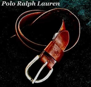 【POLO】ラルフローレン Vintage レザーステッチベルト 36/Brown