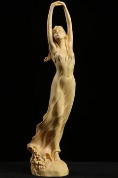 木彫美術作品の逸品 セクシー美少女ハンドメイド 高さ23cm