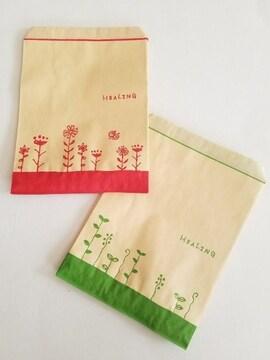 R70サイズ平袋★ハーブリーフ&ハーブフラワー40枚★キュート紙袋
