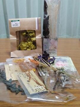 ハーバリウム★ドライフラワー&樹脂花のセット