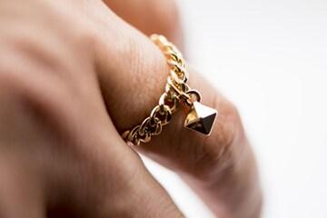 小スタッズ チェーン3ミリ リング/指輪