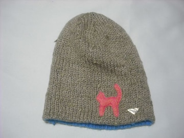 wb624 ROXY ロキシー リバーシブル モヘア ニット帽 カーキ
