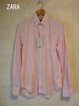 □ザラ/ZARA ピンクストライプ  ビジネスシャツ/ドレスシャツ/メンズ・S☆新品