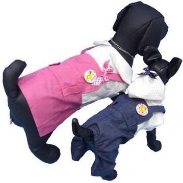 j05)Mサイズ!バッジ付ワンピースつなぎピンク犬服セレブdog