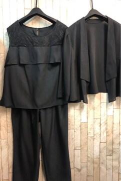 新品☆17号♪黒系のパンツドレス3点set♪フォーマル☆j174