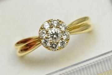K18 ゴールド 合計 0.50ct ダイヤモンドリング 12号 指輪