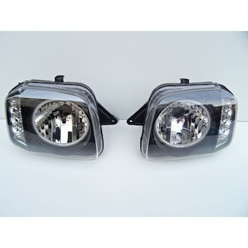 スズキ ジムニー JB23 LEDイカリングヘッドライト インナーブラック クリアレンズ LEDウインカー