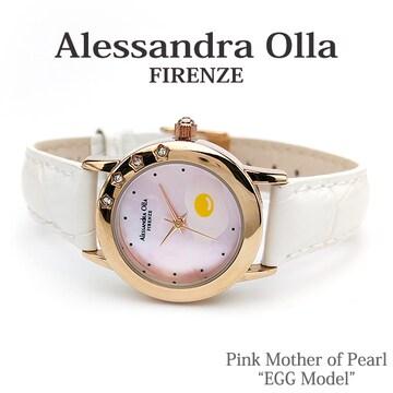 送料無料【Alessandra Olla】エッグ&ピンクシェル本革腕時計WH