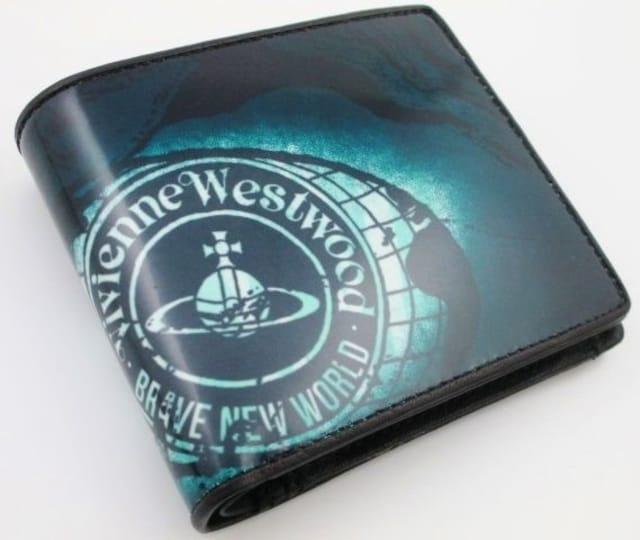 新品/箱付 ヴィヴィアンウエストウッド 二つ折り財布 ブルー系 < ブランドの