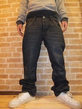 【新品】H&M「BRAGG FIT」ヒゲ加工ブラックデニムW33L32♪