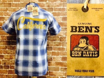 表記S/新品!ベンデイビス.California.チェンステ.刺繍.チェックシャツ.50'sルード