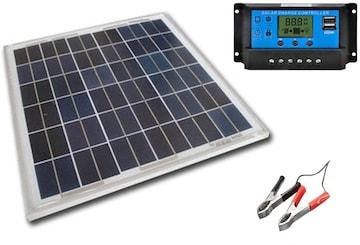 12vバッテリーへ充電用 20W ソーラーパネル1枚 20A 12v/24v