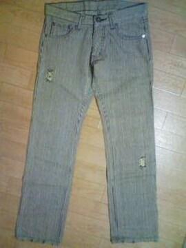 Aー181★新品<Sale>クラッシュ加工ヒッコリーパンツ 79