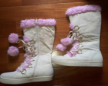 CLASS ピンクファー ブーツ