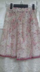 レストローズ/L'EST ROSEフラワーオーガンジーストライプスカート