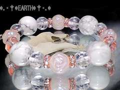 天然石★薔薇ローズクォーツ*ハウライト*クラック水晶*ピンクロンデル