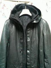 シェラックshellac44レザーフードコートパーカーレイヤー黒