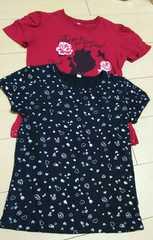 ◆◇美品◇◆英字×ラメ薔薇×蝶々×女の子柄&ハート総柄半袖2枚・140