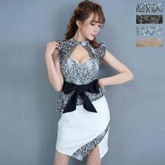 リボンつきフリルレースセクシーミニドレス  キャバ チャムドレス