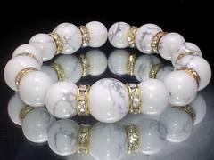 パワーストーン☆天然石!!ハウライトホワイトターコイズ12ミリ14ミリ数珠ブレス§金ロンデル