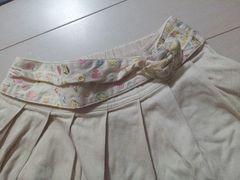美品ハートバックル刺繍ベルト付きフレアスカート森girlベージュ大人可愛い即決