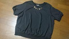 大きいサイズ☆袖シースルー袖裾リブ首元アクセ付きカットソー/4L