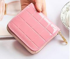 【送料無料】ピンク コンパクト エナメル 財布 PUレザー