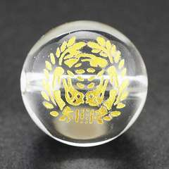彫刻ビーズ水晶12mm(金色)家紋「伊達政宗」
