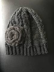 VIVAYOU ビバユー ニット帽 コサージュ 花 黒 レディース 帽子