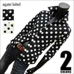水玉ドット柄7分袖ドレスシャツ(日本製) ブラック LL[114024]