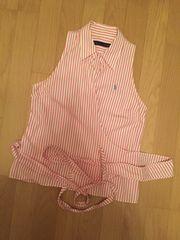 ラルフローレン 白ピンクストライプ ノースリカシュクールシャツ