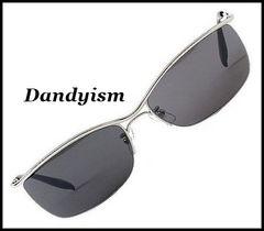 ダンディ/サングラス/DARKブラック・UVカット/メタル/高級感・高品質/ケース付/sa21