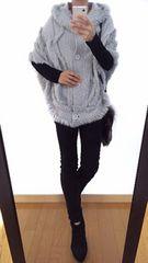 最終出品【美品】RecHerie◆定価18000円◆毛皮ファー付◆ニットポンチョ