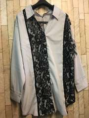 新品☆3L異素材つかいスキッパーシャツ♪ブラウス5800円を!s135