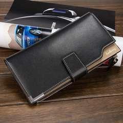 長財布 レザー 二つ折り財布 札 小銭 カード入れ黒色 ブラック
